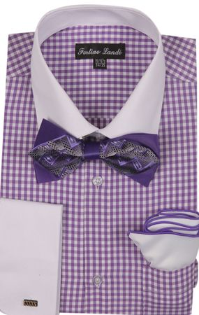 Milano Mens Lavender Check French Cuff Bow Tie Shirt Set FL628 - click to enlarge