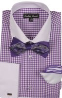 Milano Mens Lavender Check French Cuff Bow Tie Shirt Set FL628