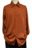 Pronti Mens Rust Polka Dot Long Sleeve Shirt 61061