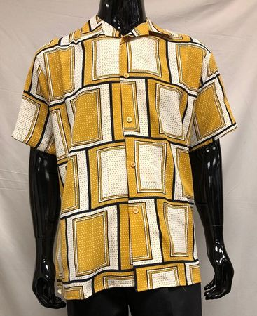 Pronti Mens Gold White Square Pattern Casual Shirt S6376 - click to enlarge