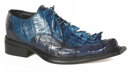 Mauri Crocodile Shoes Mens Blue Long Pointy Toe Hornback 44209 - click to enlarge