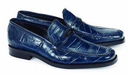 Mauri Italy Mens Blue Alligator Casual Italian Loafer Spada 4692