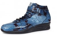 Mauri Italy Mens Blue Snake Print Patent Leather High Top Sneakers M764