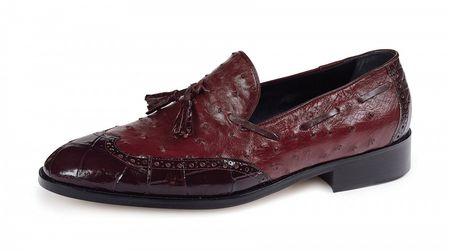 Mauri Italy Mens Burgundy Alligator Ostrich Wingtip 53129 - click to enlarge