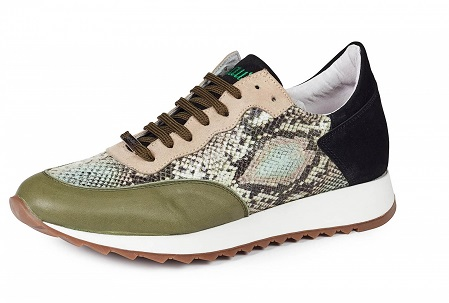 Mauri Italy Mens Green Leather Python Print With Suede Lace Up Sneakers M728