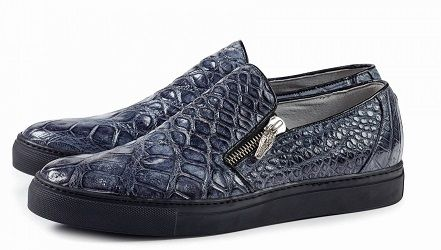 Mauri Italy Mens Grey Alligator Slip On Sneaker 8508