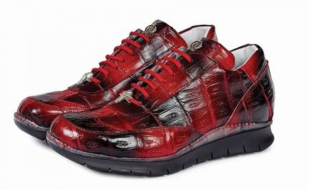 Mauri Italy Mens Red/Black Baby Crocodile Casual Sneaker 8932 - click to enlarge