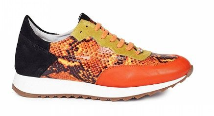 Mauri Italy Mens Trainer Orange Leather Python Print Sneakers M728