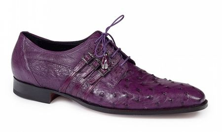 Mauri Italy Shoes Men's Purple Ostrich Skin Lace Up Donatello 4820 - click to enlarge