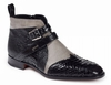 Mauri Italy Shoes Mens Black Python Ostrich Boots Bellini 4828