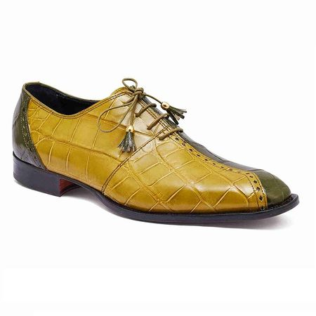 Mauri Green and Mustard Alligator Shoes Italian Two Face 4975