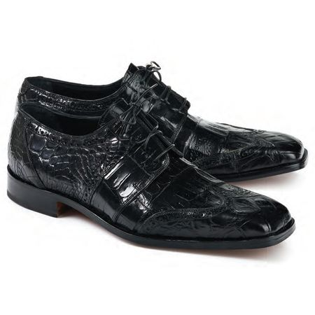Mauri Men's Black Alligator Crocodile Shoes Lace Up 53130