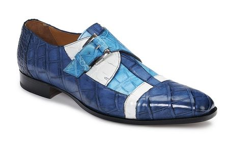 Mauri Blue White Crocodile Monk Strap Shoes Scrivia 4841