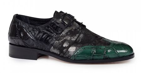 Mauri Shoes Alligator Body Unique Green Black Wingtip 53124 - click to enlarge