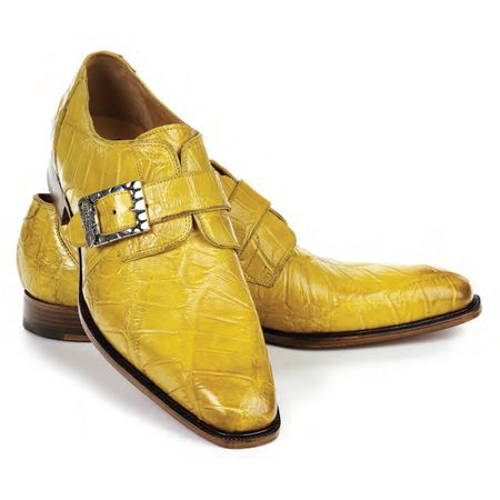 Mauri Shoes Yellow Alligator Body Unique Monkstrap 4853/2