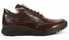 Mauri Shoes Italy Brown Embossed Crocodile Toe Sneakers King 8900