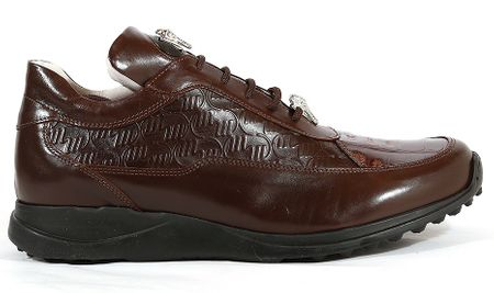 Mauri Shoes Italy Brown Embossed Crocodile Toe Sneakers King 8900 - click to enlarge