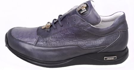 Mauri Shoes Italy Grey Crocodile Toe Sneakers King 8900 - click to enlarge