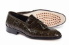 Mauri Shoes Italy Men's Olive Green Alligator Crocodile Loafer 4839