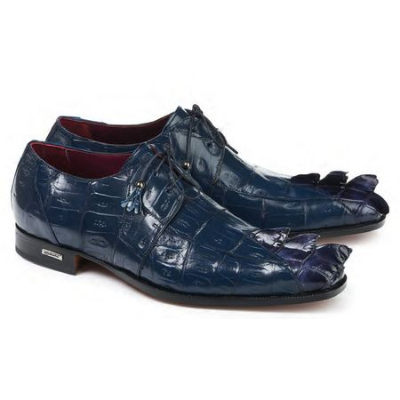 Mauri Shoes Mens Blue Crocodile Pointy Toe Shoes 4910