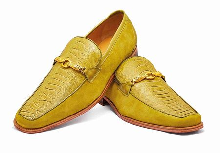 Mauri Shoes Mens Apple Green Ostrich Leg Loafer Priest 4800