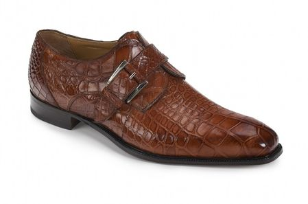 Mauri Gold Alligator Shoes Monk Strap Agogna 4853