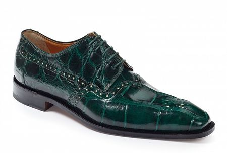 Mauri Shoes Italy Mens Forrest Green Alligator Lace Up 4860 - click to enlarge