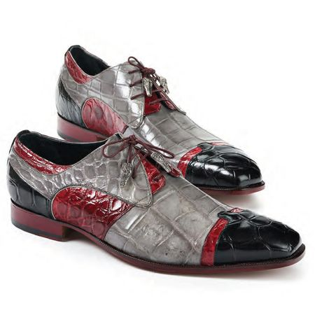 Mauri Light Gray Red Alligator Shoes Stephen 4921