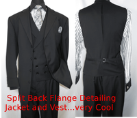 Men Church Suits Black Slant Vest 4 Button 3 Piece Milano 5263v