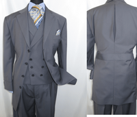 Men Church Suits Grey Slant Vest 4 Button 3 Piece Milano 5263v