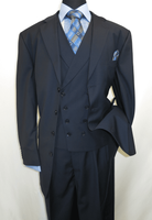 Men Church Suits Navy Blue Slant Vest 4 Button 3 Piece Milano 5263v