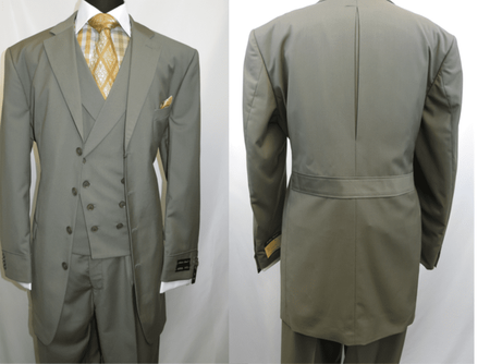 Men Church Suits Olive Slant Vest 4 Button 3 Piece Milano 5263v - click to enlarge