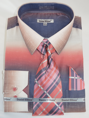 Men Dress Shirts with Ties Fashionable Salmon Color Blend DE DS3795 - click to enlarge