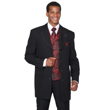 Mens Dress Suits by Milano Moda Black Red Fancy Vest 3 Piece 6903V
