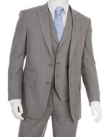 Men's 1920s Style Gray Glen Plaid Lapel Vest Suit Vittorio F62SP
