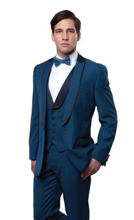 Mens Blue Black Slim Fit Tuxedo Prom Bryan Michaels MT239S-02