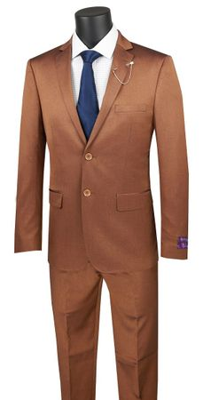 Men's Amber Rust Fitted Suit Extra Slim Vinci US2R-2