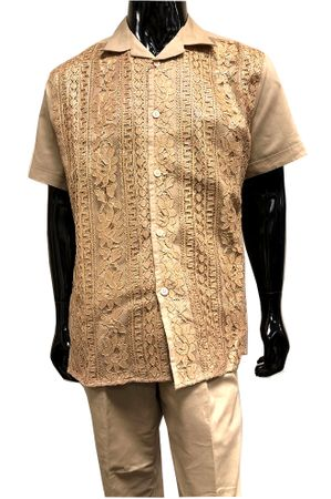 Men's Beige Linen Gold Lace Front Outfit Successo 3354SP Size 3XL/44