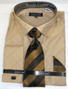 Men's Beige Sharkskin French Cuff Dress Shirt Tie Combo DN82