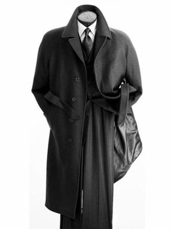 Men's Belted Wool Overcoat Top Coat Full Length Black Alberto Belt-Coat - click to enlarge