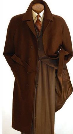 Men's Belted Wool Overcoat Top Coat Full Length Brown Alberto Belt-Coat - click to enlarge