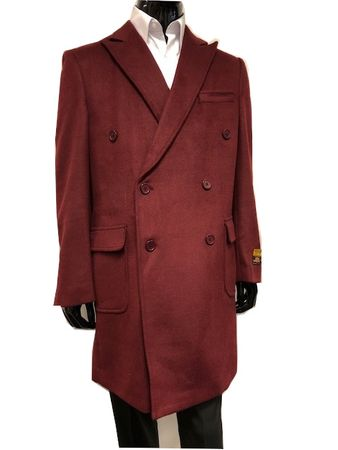 Men's Burgundy Double Breasted Wool Cashmere Coat Knee Length Alberto Manhattan IS - click to enlarge
