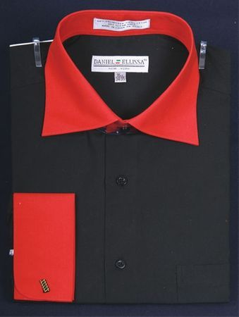 Men's Black and Red Collar French Cuff Dress Shirt DE DS3100TT IS