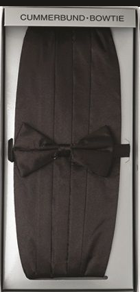 Men's Black Cummerbund Bow Tie Set Fratello