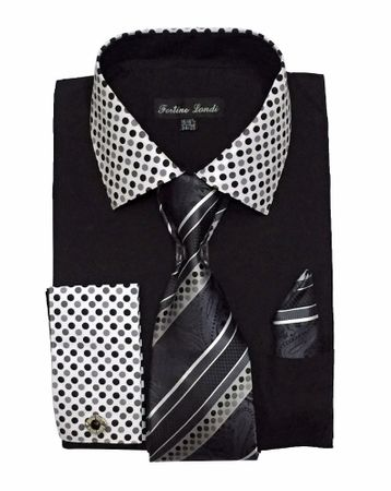 Men's Black Dot Collar Cuff Dress Shirt Tie Set Fortino FL630