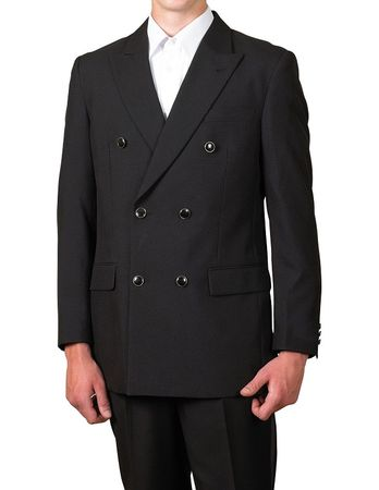 Men's Black Double Breasted Suit Jacket Classic Fit Blazer Lucci Z-DPP