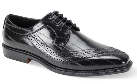 Men's Black Eel Print Italian Style Dress Shoes Antonio Cerrelli 6780