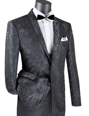 Men's Black Floral Blazer Jacket Prom Shawl Collar Vinci BSF-10