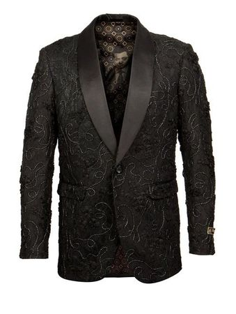 Men's Black Floral Embroider 1 Button Jacket Empire ME257H-01