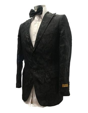 Men's Black Flower Prom Jacket Bow Tie Alberto Blazer-777 KA224-6 Black